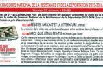 Concours national de la Résistance et de la Déportation, 2015/2016. Projection publique de travaux d'élèves.